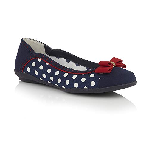 Ladies Shoo 09294 Shoes Ruby Lizzie 9 Navy uk 42 eu Ballerina Vegan Pumps Spots 1950's x5vT4vw