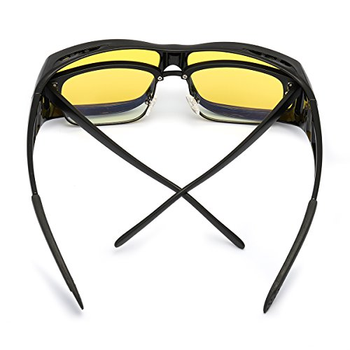 7a3ac9752ab LVIOE Wrap Around Style Polarized Night Driving Glasses to Wear Over  Regular Prescription Glasses (Black