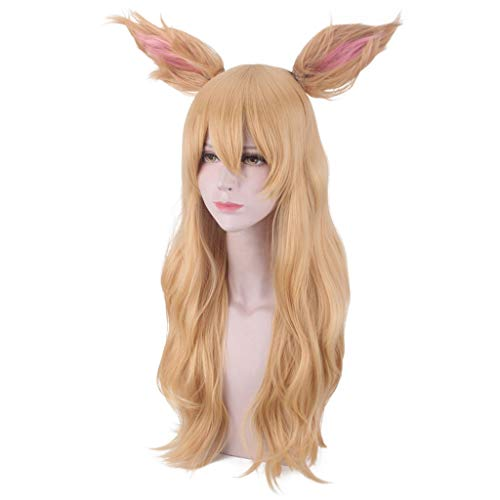 JJLIKER Light Brown Long Wavy Wigs With Bangs and Fox Ears Adult Fancy Dress Cosplay Costume Halloween Party for Women ()