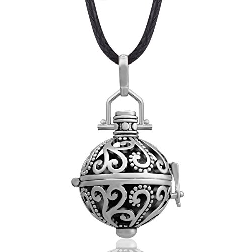 EUDORA Harmony Ball Necklace 18mm Antique Silver Chime Bell Pendant Women Gift, 30