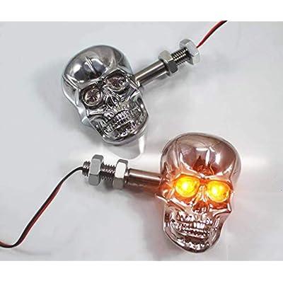 PerfecTech Motorcycle 10mm Screw Skull Head LED Amber Turn Signal Indicator Light (Chrome): Automotive