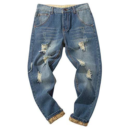 Hombre Jeans Pantalones,Sonnena Vaqueros Ocasionales de algodón de la Vendimia del otoño Denim Cotton Wash Pantalones de Trabajo Jeans Pantalones Larga A