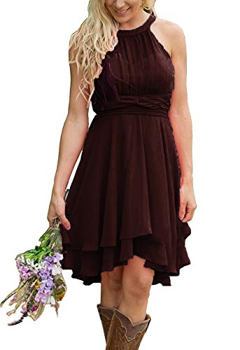 Faxpox Meledy Women's Elegant Country Bridesmaid Dresses Hi-Lo Ruched Chiffon Wedding Evening Dress Brown US6