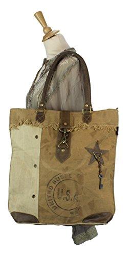 Damen Vintage Tasche Shopper Schultertasche Handtasche aus Canvas/Segeltuch mit Leder 1697 43x43x10 cm
