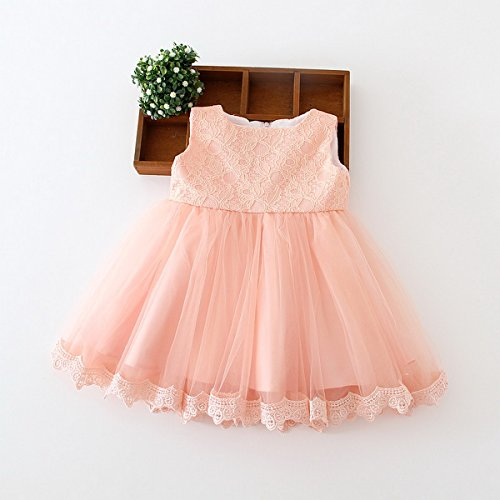 Happy Cherry Baby Girls Wedding Gown Formal Pageant Tulle Bowknot Princess Full Dress Size 3M - Pink by Happy Cherry