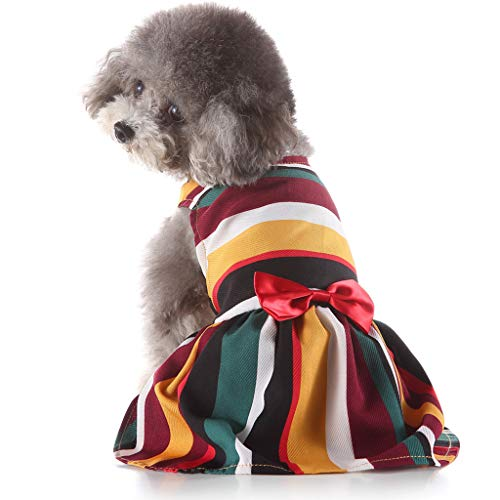 Conwinart Pet Dresses,Rainbow Striped Bright Puppy Clothing Queen Style with Bowknit for Small Dogs and Cats Evening Vest Shirt Spring Summer Formal Clothes Tutu Shirts Elegant Princess Dress (XS, MR)