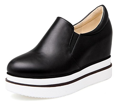Sfnld Dames Casual Slip Op Platform Verborgen Hak Sneakers Zwart