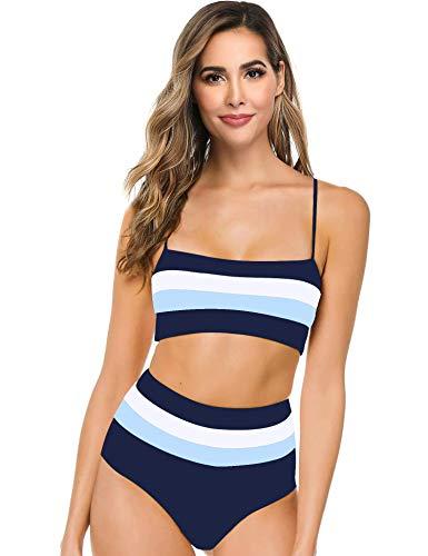 Hotvivid Women's Two Piece Bikini Sexy High Waist Three-Color Stitching Stripe Swimsuit(Dark Blue,L)
