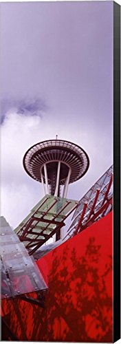 Low angle view of a tower (vertical), Space Needle, Seattle, Washington State by Panoramic Images Canvas Art Wall Picture, Museum Wrapped with Black Sides, 12 x 36 inches (State Washington Pictures)