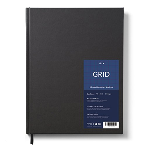 Vela Sciences Advanced DuraCover Lab Notebook, 9.25 x 11.75 inches, 144 Pages (Grid, 1-Pack)