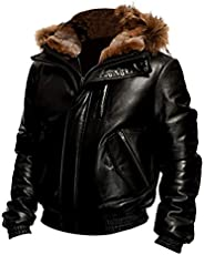 SARZ-Fashion Men's Goose Bomber Stylish Genuine Sheepskin Hooded Leather Jacket
