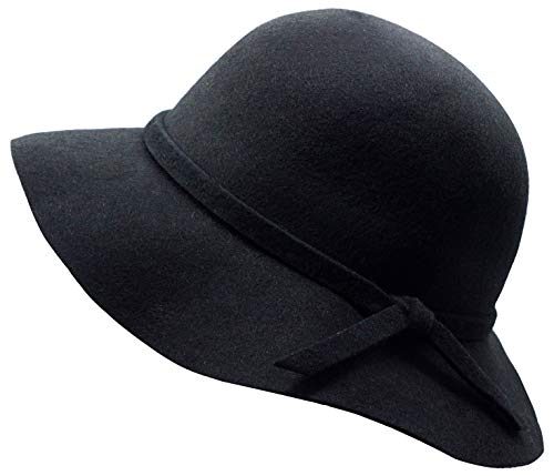 - Kids Girl's Vintage Dome Wool Felt Bowler Cap Floppy Hat Bow,Black