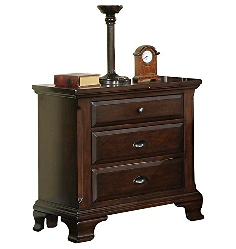 3 Drawer Nightstand Cherry Finish Antique Pewter Look Pulls and Knobs Dust Proofing on Bottom Drawers for Added Protection Residential Use - Traditional 4' Handle Pull
