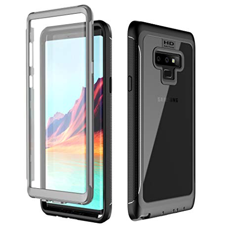 Samsung Galaxy Note 9 Case, Full Body Heavy Duty Protection with Built-in Screen Protector Shockproof Rugged Cover Case for Samsung Galaxy Note 9 (2018) 6.4 Inch - Clear/Black