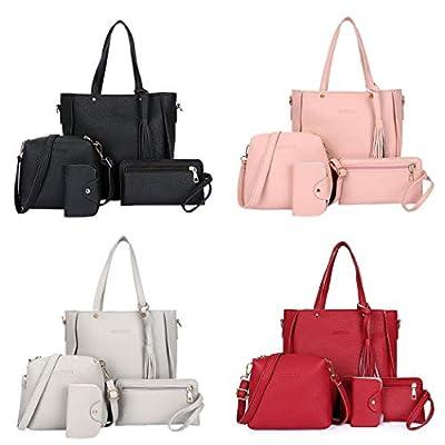 4pcs Women Leather Handbag Shoulder Bags Tote Purse Messenger Satchel Set Best Accessory Gift