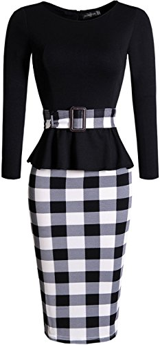 Jeansian Mujer PatchWork Elegante Vestido Largo De Mangas Women Elegant PatchWork Long Sleeves Dress WKD202 Black