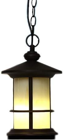 Tkbily American Industrial Retro Exterior Impermeable Colgante Impermeable Cilindro redondo Aluminio Lámpara colgante de techo vintage Sombra E27 Patio Jardín Pérgola Gazebo Porche Lámpara de araña Il: Amazon.es: Hogar