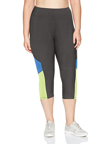 Just My Size Women's Plus Size Active Pieced Stretch Capri, Granite Heather/Odyssey/Washed Lime, 4X by Just My Size