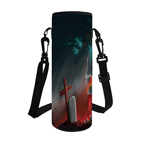 Halloween Stylish Bottle Sleeve,Graveyard Cemetery Tree with Evil Skull Tomb Stone Cruciform Creepy Fantastic Decorative for Bottle & Vacuum Cup,3.7''L x 3.7''W x 10.2''H]()