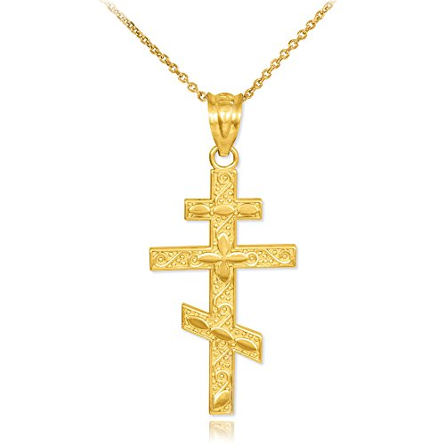 14k Gold Russian Orthodox Cross Pendant Necklace, (Gold Russian Orthodox Cross)