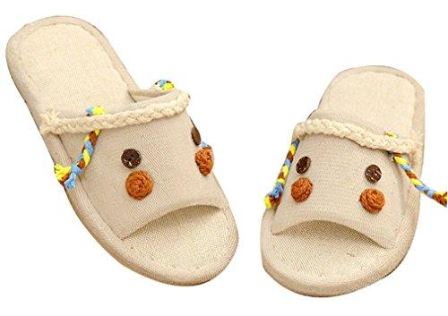 Blubi Mujeres Summer Design Linen Cosy Ladies Slippers Dormitorio Zapatillas Chocolate