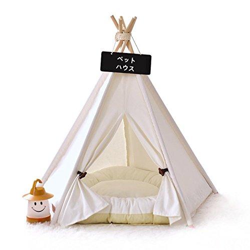 HOPPO 犬 猫 天然素材の布テント ハウス 小屋 ベッド ティピーテント 室内用 小型犬・中型犬に対応 おしゃれ 四季通用 組み立て簡単  (L)