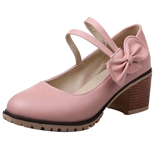COOLCEPT Women Casual Western Heels Court Shoes Pink S3ogQPpkU5