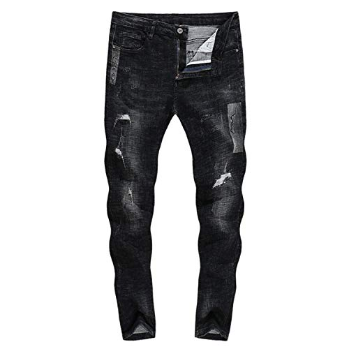 Gamba Dritta Zlh Strappati Uomo Battercake Da 3123 Biker 2018 A Stretch Neri Jeans Thick Pantaloni Comodo qAvPC