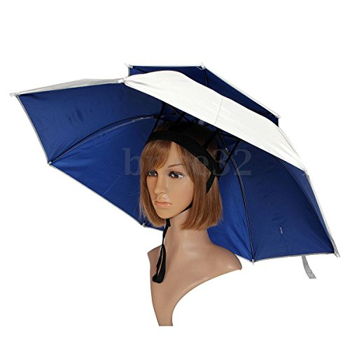 Windproof Sun Rain Double Umbrella Hat Fishing Outdoor Shade Camping Headwear (Beetlejuice Little Head)