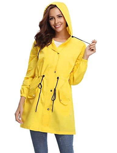 Jaune De Femme Capuche Manteau Voyage Pour Camping Vent Imperméable Raincoat Zippé À Veste Unisexe Randonnée Pluie Cape Vacance Manches Longues Poncho Coup IIE1S