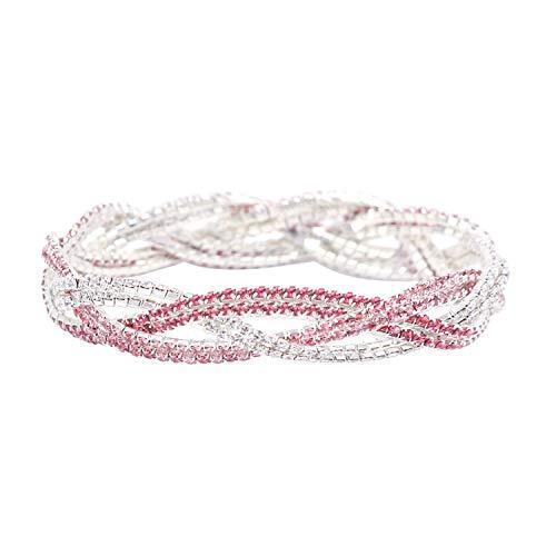 (So Pretty Rhinestone Stretch Bracelet for Women Girls Silver Plated Pink Crystal Bridal Jewelry)