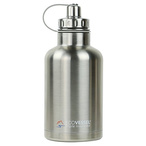 EcoVessel THE BOSS TriMax Insulated Stainless Steel Beer Growler Bottle With Tea And Fruit Infuser - 64 Ounces - Silver Express by EcoVessel