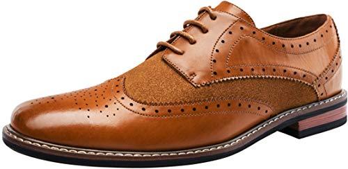 JOUSEN Men's Oxford Formal Dress Shoes Wingtip Brogue Derby Shoes (11.5,Yellow Brown)