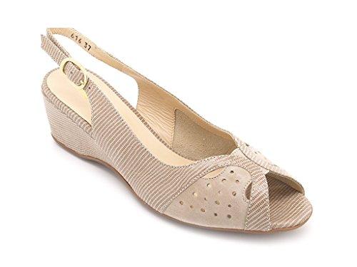 Melluso Sandalias para mujer, parte superior de cuero y suela de caucho, zeppa alta 5,5 cm. Beige/Corda
