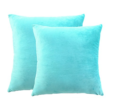 "Set of Two 18"" X 18"" Square Cotton Super Soft Short Plush Throw Pillow Cover Turquoise"