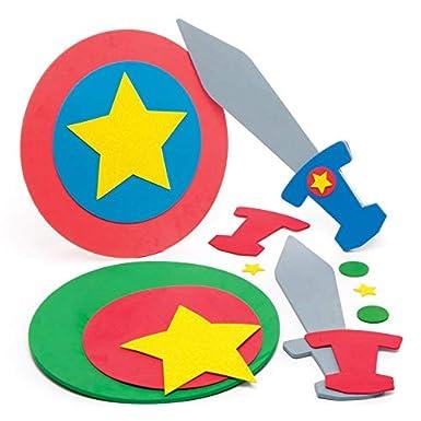 Baker Ross Aw555- Kits de Espada y Escudo de Superhéroe (Pack de 2) - Accesorios para Disfraces Infantiles: Amazon.es: Amazon.es