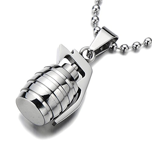 Stainless Grenade Pendant Necklace Polished