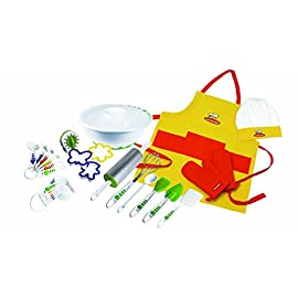 Curious Chef TCC50091 27-Piece Foundation Set, Child, Multicolored 36 Our Curious Chef 27-Piece Foundation Set is a fantastic collection delicious meal making tools for young ones to engage beginning cooking Set includes: apron, hat and 2 thumb mitts, cookie cutters, measuring spoon and measuring cup sets, 3 qt mixing bowl, rolling pin, cookie turner, whisk, poly spoon, pastry brush and silicone spatula Appropriate for young gastronomic apprentices ages 5 and up | Dishwasher safe