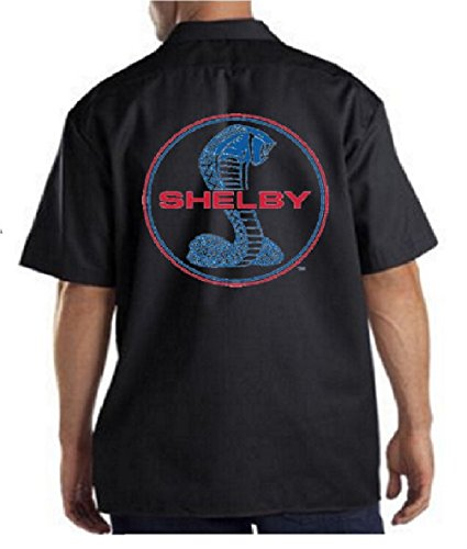 Ford Shelby Cobra Logo Men's Work Shirt Ford Motor Company Carroll Shelby Circle Tee, Black, XL