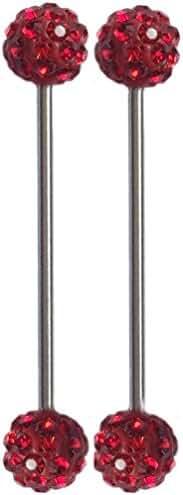 Thenice 1 Pair 1.6mm Length Rod 40mm Ear Bone Earring Industrial Barbell