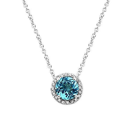 Effy Ocean Bleu Collection Blue Topaz And 0.08 Ct. T.W. Diamond Pendant In 14K White Gold ()