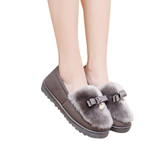 Deesee (tm) Strik Warme Dames Flats Schoenen Sneeuw Dames Herfst Winterschoenen Grijs