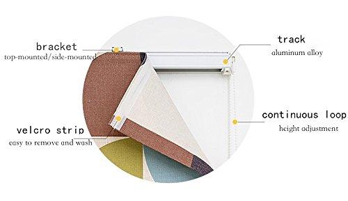 KARUILU home Quick Fix Washable Roman Window Shades Flat Fold, Geometric Color Pattern (32W x 63H, Ocean) by KARUILU home (Image #5)