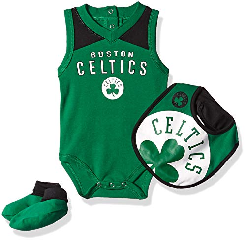 Outerstuff NBA NBA Newborn & Infant Boston Celtics Overtime Bodysuit, Bib & Bootie Set, Kelly Green, 6-9 Months (Celtics Snap Boston)