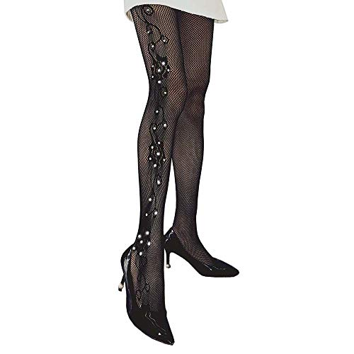 Women's Rhinestone Fishnet Stockings High Waist Floral Pattern Shiny Diamond Drilling Pantyhose Hollow Mesh Tights for - Diamond Pantyhose Pattern
