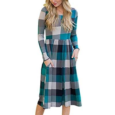 KESEE Womens Plaid Print Straight T Shirt Lattice Pocket Dress Casual Dress Swing Midi Dress Loose Tunic Dress with Pockets
