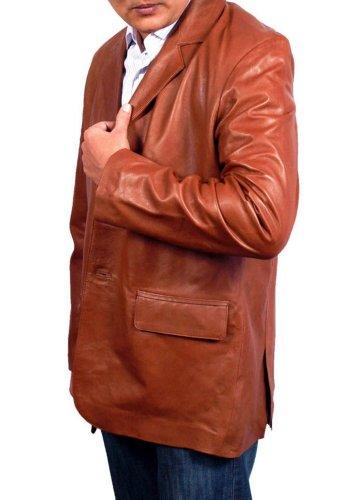 HLS Men's Three Button Faux brown Leather Coat