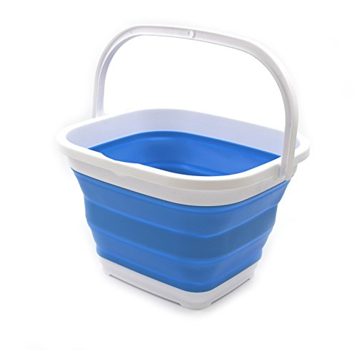 SAMMART 10L (2.6 gallon) Collapsible Rectangular Handy Basket/Bucket (1, Blue) ()