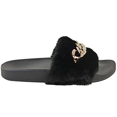 Mode Dorstige Dames Diamante Keten Slider Sandalen Slippers Schoenen Maat Zwart Namaakbont