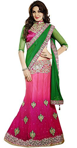 INMONARCH Womens Gorgeous Green And Pink Lehenga Saree SSA3310 stitched